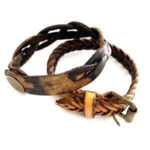 Rustic Leather Braided Bracelets